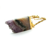 Amethyst slice necklace, rough amethyst pendant, amethyst jewelry, amethyst geode slice, raw gemstone pendant, purple gemstone jewelry