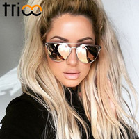 TRIOO Mirror Rose Gold Women Sunglasses Round Luxury Brand Female Sun Glasses For Women Fashion Oculos Star Style Shades