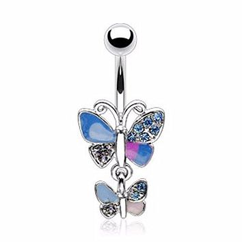 Wing Pave Gem Double Butterfly WildKlass Navel Ring (Sold by Piece)