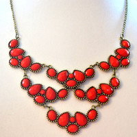 Women Statement Necklace, Red Beads, Bib Style, Mother's Day Gift, Long Chain Necklace. Free Shipping.