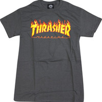Thrasher Flame Tee Large Charcoal/Yellow & Red