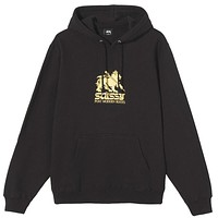 Stussy Lion Embroidered Hoodie Black