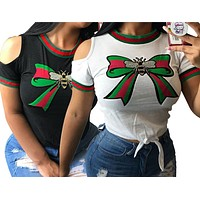 gucci Women's Printed Butterfly-knot Bee T-shirt