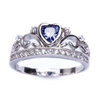 .925 Sterling Silver Simulated Tanzanite Heart & Cz Crown Ring Sizes 5-10
