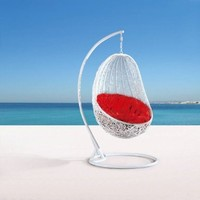 Comfortable Egg-shaped Rattan Outdoor Euro Swing Chair- Red
