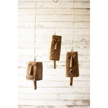 Set Of 3 Clay Face Hanging Bells
