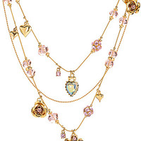 PINK CRYSTAL ILLUSION ROSE NECKLACE