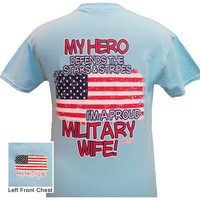 Girlie Girl Originals Army Navy Airforce Marines Proud Military Wife Blue Bright T Shirt