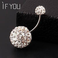 IF YOU Trendy Ball White Crystal Navel Ring Stainless Steel Piercing Belly Button Rings Body Fashion Jewelry Summer Style Women