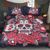 BeddingOutlet Sugar Skull Bedding Set Roses Duvet Cover With Pillowcases Floral Printed Red Gothic Home Textiles 3pcs Bedclothes