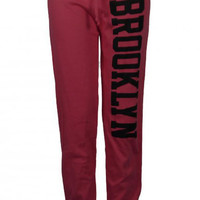 BROOKLYN TEXT PRINT JOGGING SWEAT PANTS