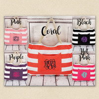 monogrammed bag,Beach Bag, Nautical Striped Front Pocket Tote with Rope Handles