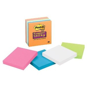 """Post-it 6-pk. Neon Super Sticky Notes 3""""x3"""""""