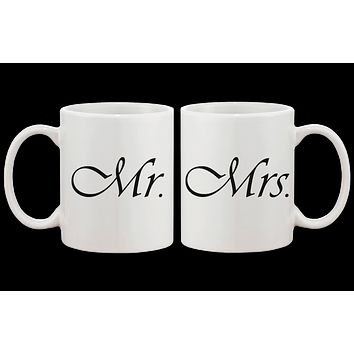 Cute Mr and Mrs Couple Mugs - His and Hers Matching Coffee Mug Cup Set