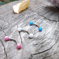 """16g Rook curved barbell opal ends stainless steel 5/16"""" pink white blue opals 3mm ball ends cartilage rook earring high polish snug jewelry"""