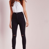 Missguided - Vice Super Stretch High Waisted Ripped Knee Skinny Jeans Black