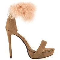 """Luichiny Fly Kite Taupe With Furry Ankle Cuff 5"""" Heel 1"""" Platform Shoe"""