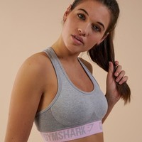 Gymshark Flex Sports Bra - Light Grey/Chalk Pink
