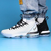 Bunchsun Nike LeBron 16 LBJ16 Fashionable Men Casual Sport Basketball Shoes Sneakers Black White