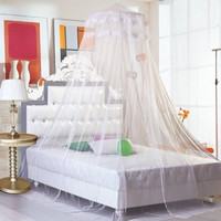 Beety Round Lace Curtain Dome Bed Canopy Netting Princess Mosquito Net (White)