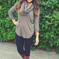 Love In Leisure Top: Charcoal Grey