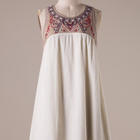 Embroidered Sleeveless Dress - Ivory