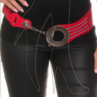 Thick belt with large fastener and chain accents in black