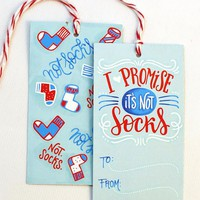 gift tag - Not socks - Set of 10 with twine