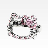 Hello Kitty Face Ring: Pink Bow Rhinestone - 6