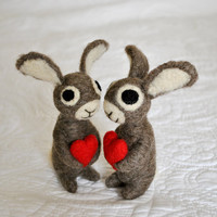 Two 3 Bunny Rabbits  Valentine Love by AdoraWools on Etsy