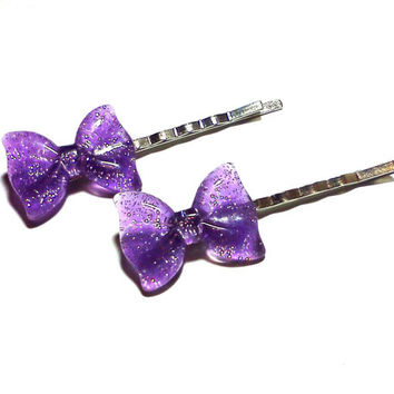 Purple Glitter Bow Bobby Pins Cabochon Hair Pins Party Bachelorette Accessories