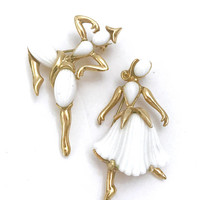 """Trifari """"Beau Belles"""" Dancer Brooches, Trifari Figurals, White Thermoset Dancers, Alfred Philippe, Mid Century 1953, Book, Gift for Her"""