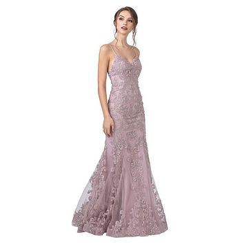 CLEARANCE - Mauve Embroidered Long Prom Dress with Spaghetti Straps (Size Medium)