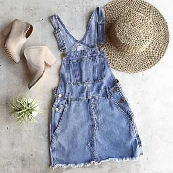 belle of the playground - denim bib overall dress