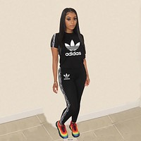 Adidas Women Print Shorts Sleeve Top Pants Trousers Set Two-Piece