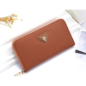 PRADA Tide brand men's and women's long zipper wallet card holder #6