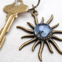 Big Blue Bubble Keychain, Lucky Sun Keychain, Antiqued Bronze Keychain, Gift for her, Good Luck Charm