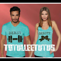 Free US Shipping  Fast Processing Beauty and the Beast Matching Couple TShirts or Tanks Royal Blue and Heather Gray
