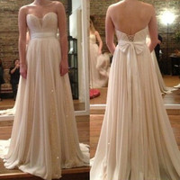Strapless Prom Dresses, Long Prom Dress With Bow