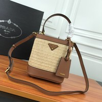HCXX 19June 645 Prada Double Saffiano Bamboo knitting Leather Magnetic buckle Handbag 23-13-22 breown