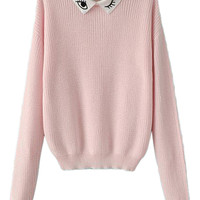 ROMWE | Eye Embroidered Pink Jumper, The Latest Street Fashion