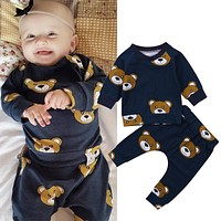 Newborn Kids Infant Baby Boy Girl Clothes Set Fashion T-shirt Pants Leggings Pajamas Outfit Clothes