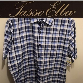 Tasso Elba 100% Cotton Checker Short Sleeve Shirt