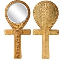 Ankh Djed Symbol of Life Egyptian Symbol Hand Mirror Relief Gold Finish 8.5L