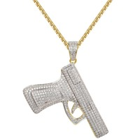 Men's Iced Out Gun Pistol Pendant Free Necklace