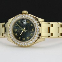 Rolex Lady Pearlmaster Gold Black Pyramid Roman Diamond 80298 - WATCH CHEST