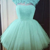 Ball-gowns Beading Scoop Blue Short Tulle Homecoming Dress
