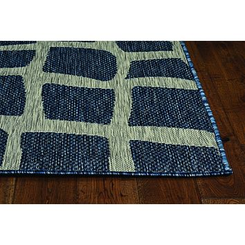 "Blue and Grey Rug - 47"" X 31"" X 0.'25"" Blue/Grey Polypropylene Rug"