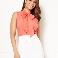 Eva Mendes Collection - Isabella Sleeveless Bow Blouse - New York & Company
