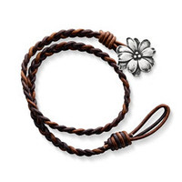 Cappuccino Woven Leather Bracelet with Wildflower Clasp | James Avery